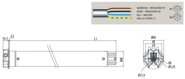 Motore per avvolgibili Cherubini Plug&Play 3000 45