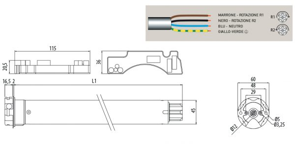 Motore per avvolgibili Cherubini Plug&Play Short 45