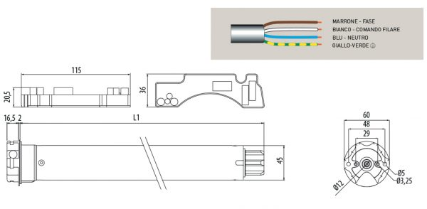 Motore per avvolgibili Cherubini Plug&Play Short RX 45
