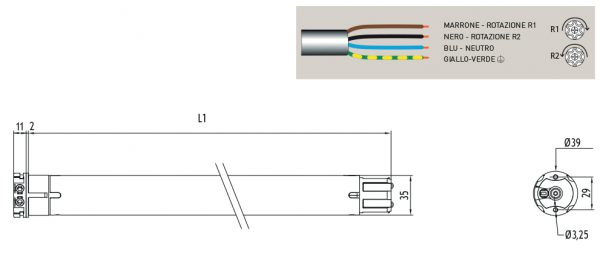 Motore per avvolgibili Cherubini Roll 35