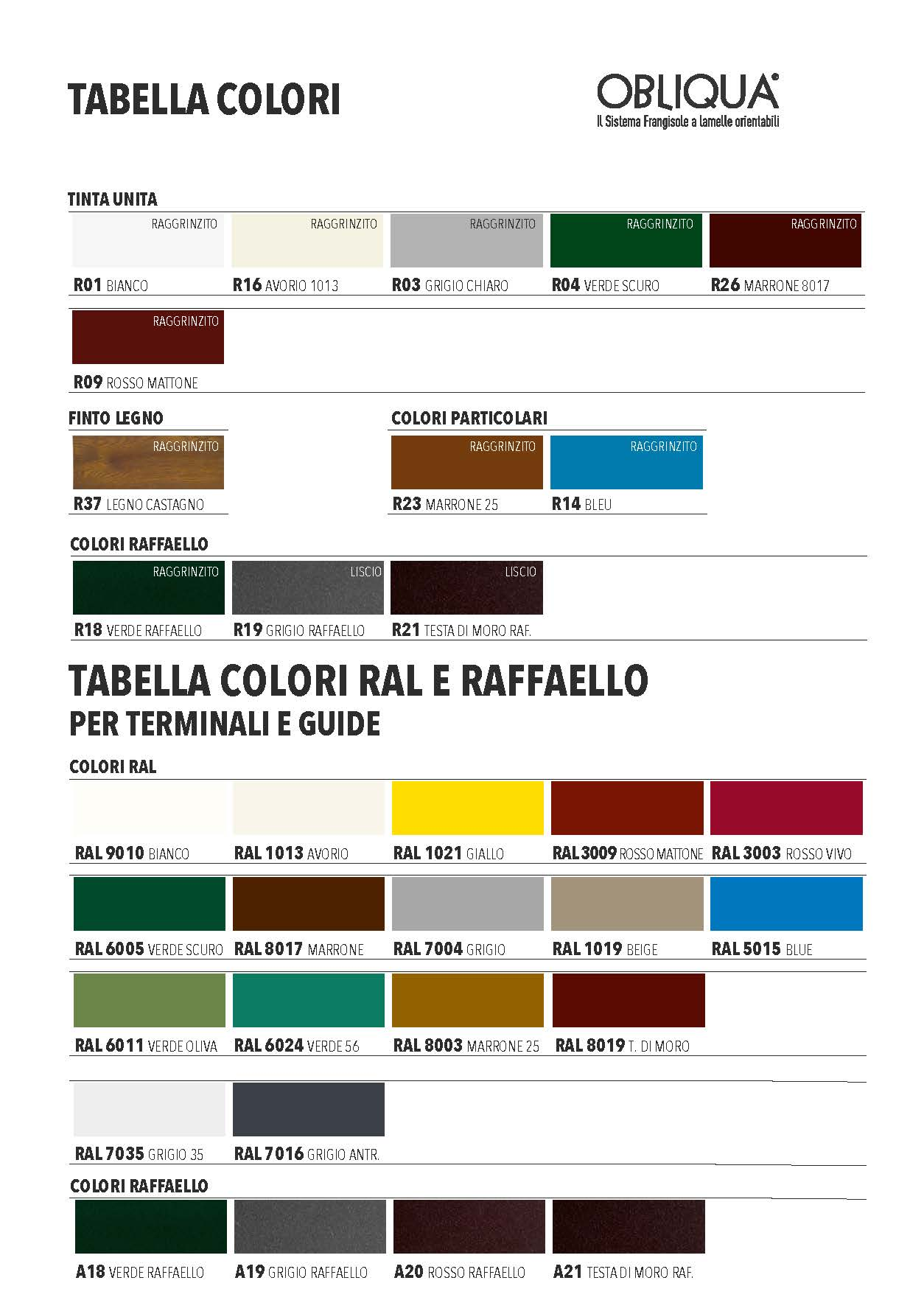 Tabella Colori Tapparelle Obliqua
